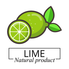cartoon lime vector label