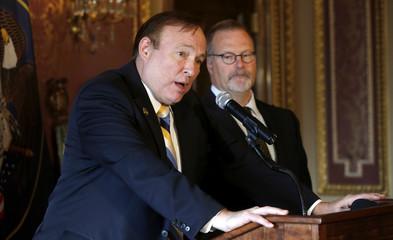 Utah state Senators Jim Dabakis and Stephen Urquhart hold a press conference at the state capitol in Salt Lake City, Utah