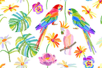 Tropical summer. Seamless vector pattern with parrots, flowers and palm leaves on white background.