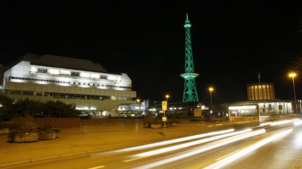 The  International Congress Center and the Funktum television and radio tower is seen during the night in Berlin