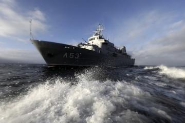 """Latvian Navy ship """"Virsaitis"""" participates in the SAR exercise in the Baltic sea near Engure"""