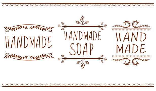 Set of typographic elements. Hand made, hand made soup. VECTOR handwritten letters. Brown lines.