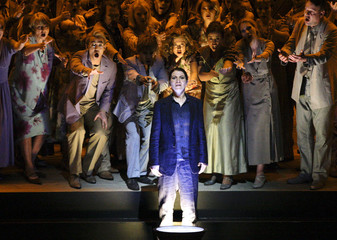 """Singer Kulman performs on stage during a dress rehearsal of Gluck's opera """"Orfeo ed Euridice"""" in Salzburg"""