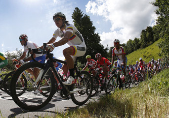 Colombia's Uran races to a second place finish to claim a sliver medal on the Box Hill circuit during the men's cycling road race at the London 2012 Olympic Games