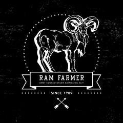 Vintage hand draw ram label