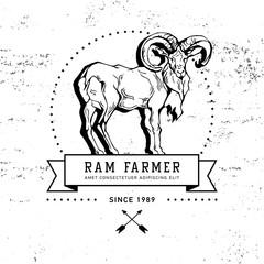 Vintage hand draw ram label
