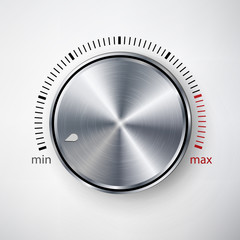Dial Knob Vector. Global Swatches. Realistic Metal Button With Circular Processing And Shadow