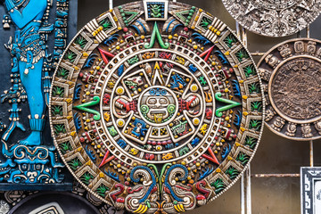 Mayan calendar carving with colors