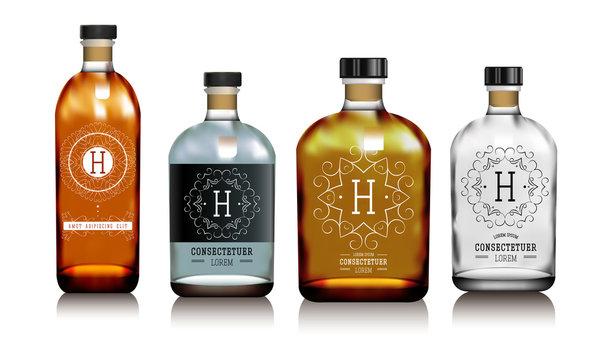Realistic vector glass bottles