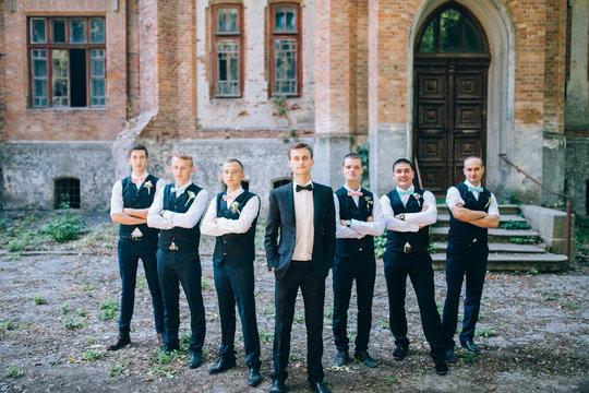 Handsome groom with groomsmen