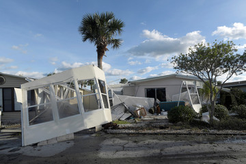 The front of a manufactured home is wrapped around a palm tree in the aftermath of Hurricane Matthew at the Surfside Estates neighborhood in Beverly Beach