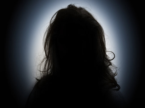 Woman head and shoulders silhouette
