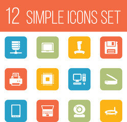Set Of 12 Laptop Icons Set.Collection Of Palmtop, Photocopy, Notebook And Other Elements.