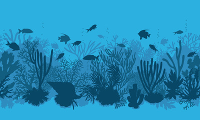 Blue Coral Reef and  Fishes Pattern