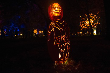 """A pumpkin Jack O' Lantern carved as the movie monster Frankenstein is displayed on the grounds of the historic Van Cortlandt Manor House and Museum during the """"Great Jack O' Lantern Blaze"""" in Croton-on Hudson, New York"""