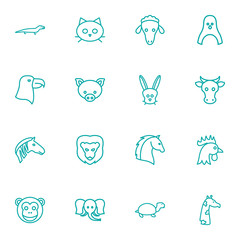 Set Of 16 Beast Outline Icons Set.Collection Of Monkey, Lion, Mammal And Other Elements.