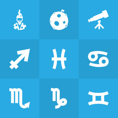 Set Of 9 Astronomy Icons Set.Collection Of Crab, Augur, Twins And Other Elements.