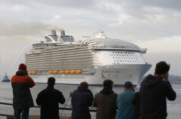 The worlds largest cruise ship, the 361 metres long, Harmony of the Seas, arrives in port for the first time, in Southampton