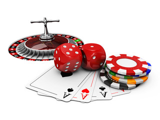 3d Illustration of Casino background with dice, cards, roulette and chips.