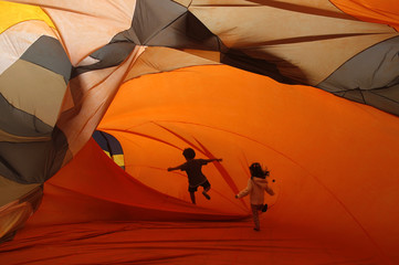 Children play inside inflatable installations at the Casa Daros museum in Rio de Janeiro
