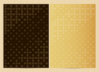 A4 size cards in golden color, dots and halftone design. Vector luxury templates for restaurant menu, flyer, greeting card, brochure, book cover and any other decoration.