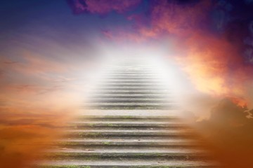 Stairs in sky .  Religion for the person . Way to heaven . Road to Paradise . Way to God . bright light from heaven .