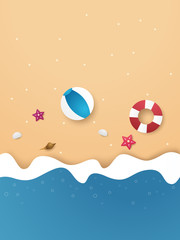 Summer time , background on beach , paper art style