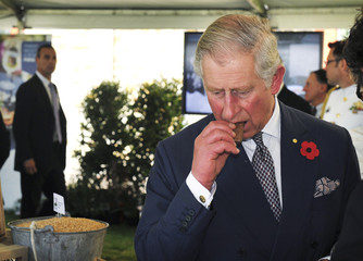"Britain's Prince Charles eats a ""Tim Tam"", a popular biscuit in Australia, during a tour of the Penfolds Magill Estate Winery in Adelaide"