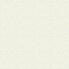 Simple delicate seamless pattern with small flowers and leaves. Vector illustration for print on textile, fabric, wallpapers, papers. Millefleurs liberty style. Ditsy vintage ornament. Ecru color