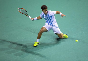 Argentina's Diego Schwartzman returns the ball to Belgium's David Goffin in their semi-final match of the Davis Cup in Brussels