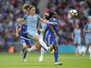 Manchester City's Megan Campbell in action with Birmingham City's Freda Ayisi