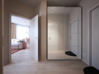 Modern Urban Contemporary Scandinavian hallway interior design with beige walls, white doors and large mirror wardrobe. 3d render