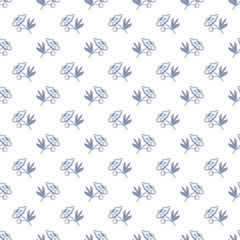 Floral background. Seamless vector illustration with small roses in retro, vintage style. Cute ornament for printing on fabric, textile, linen, bedding, wallpaper, cover, paper One color blue on white