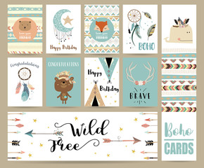 cute cards for banners,Flyers,Placards with feather,fox,bear,whale,wild and arrow in boho style