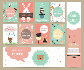 Pink blue pink collection for banners,Placards with rabbit,girl,boy,bear,house,cake and car