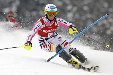 Veronique Hronek of Germany skis during the women's World Cup super combined slalom race in Meribel, in the French Alps