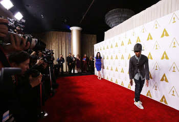 Pharrell Williams arrives at the 86th Academy Awards nominees luncheon in Beverly Hills