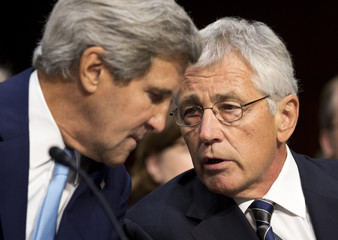 Kerry and Hagel speak before presenting the administration's case for U.S. military action against Syria in Washington