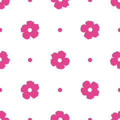 Ditsy background. Floral seamless pattern with cute flowers and polka dot. Vector illustration.  Repeating ornament for print on fabric, textile, paper, gift wrap