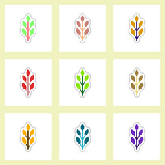 set of Labels with shadow leafs vector icon design collection tree leaf