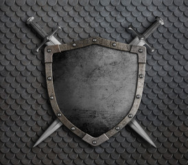 Wall Mural - medieval shield with two crossed swords over scales armor 3d illustration