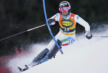 Curtoni of Italy clears a gate during the women's slalom World Cup race in Kranjska Gora