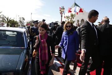 Valerie Trierweiler, companion of French President Hollande, and French Minister for Women's Rights and Government Spokesperson Vallaud-Belkacem leave the Mohammed V mausoleum in Rabat