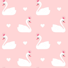cute lovely princess swan on pink background seamless vector pattern illustration