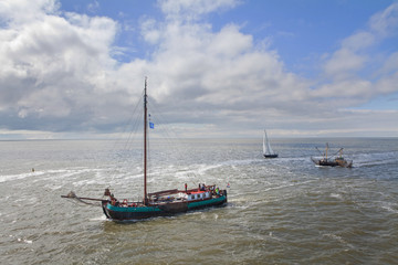 Boats and ship sailing at Waddenzee Netherlands