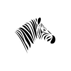 Zebra's head. Schematic black lines logo.