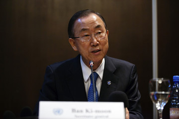 U.N. Secretary-General Ban Ki-moon speaks at a news conference at the MINUSMA headquarters in Bamako