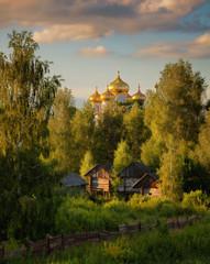 Russia. Village. Golden domes.