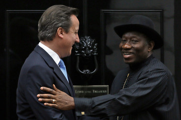 Britain's Prime Minister David Cameron greets Nigeria's President Goodluck Jonathan at Number 10 Downing Street in London