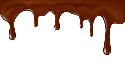 Vector realistic flowing chocolate illustration isolated on white background